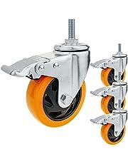 PrimeMatik - Industrieel zwenkwiel van polyurethaan met rem 75 mm M12 4-pack