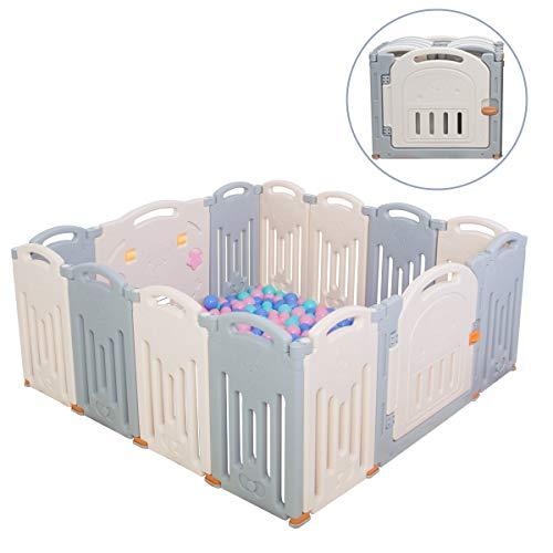 Vouwbare kinder speelbox kinder activiteiten centrum veilige speelplaats huishouden binnen- en buitengebruik nieuwe versie(Grijs)