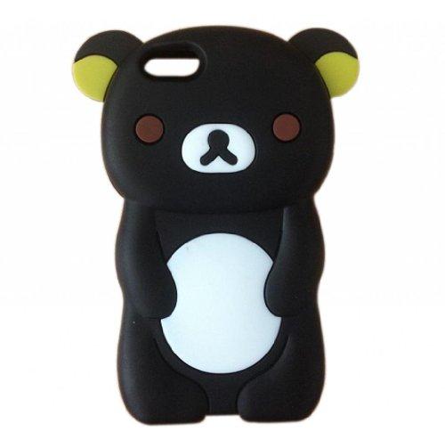 Oddless Entities 3D Cute Silicone Rubber Cartoon Teddy Rilakkuma Bear Case for iPhone 5C (Black)
