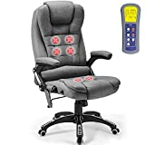 Ergonomic Massage Office Chair-High Back Fabric Heating Vibration Massage Executive Chair, Height Adjustable Reclining Swivel Computer Desk Chair Lumbar Support Armrest, Grey