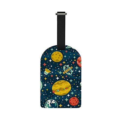 Orediy - Etichette per bagagli da viaggio, con nome e carta d'identità, motivo: pianeti spaziali, valigie, etichette in pelle PU, 1 pezzo