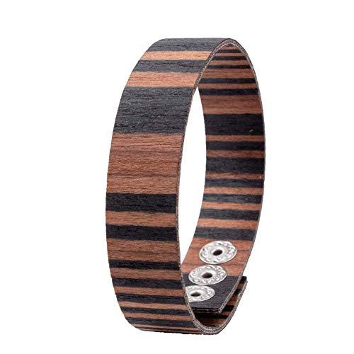 LAiMER Holzarmband - Damen & Herren Armband/Armreif aus Feinem Holz - Größenverstellbar 55-65 mm Durchmesser  aus Sandelholz 15 mm breit