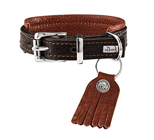 HUNTER CODY COMFORT rustieke hondenhalsband, met zacht bisonleer, comfortabele pasvorm, donkerbruin/cognac, 40 (S), donkerbruin/cognac