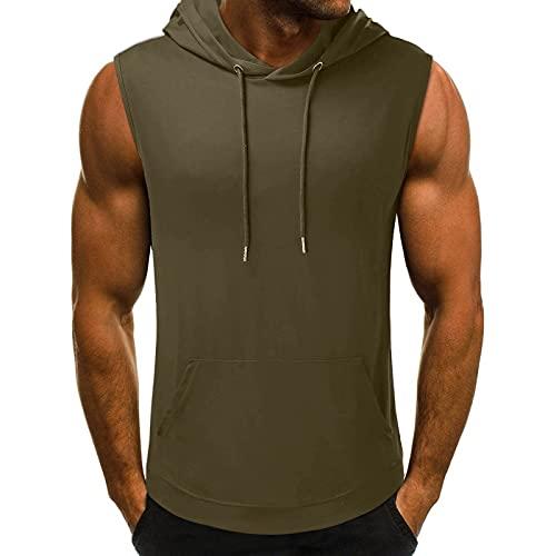 Goosuny Tank Top Herren Sommer Sportshirt Ärmellos Hoodie Fitness Muskelshirt Gym Workout Hoodie Slim Fit Männer Bodybuilding T-Shirt Trainingsshirt Weste Unterhemden mit Handytaschen