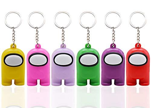 Among Us Llavero YUESEN juegos Tema Mini Llavero 6pcs decoración para llavero bolso maleta PVC cumpleaños colorido regalo niños colgante llavero mochila Accesorios