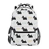 Mochila con Estilo Perro Terrier escocés Mochila- Bolsas Ligeras de Viaje para la Escuela universitaria 16 X 11.5 X 8 Pulgadas