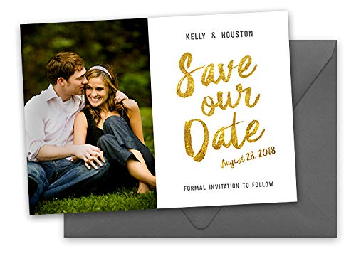 Gold Yellow Classic Personalized Wedding Save The Date Cards