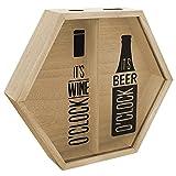 Portacorcho para vino y portaesterillas para cerveza 34,5x7,5x30cm naturaleza caja colectora colector corcho caja corcho