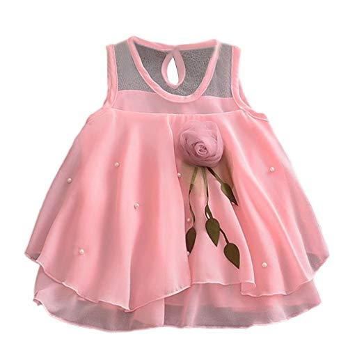 Zegeey Baby MäDchen Kleid Einfarbig ÄRmellos Rundhals Tops T-Shirts Tee TüTü Sommer Kleid Geburtstag Geschenk(Rosa,80-90cm)