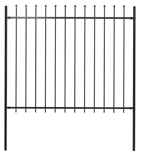 Fence Panel, Garden Fence with Spear Top Steel 66.9'x59.1' Black