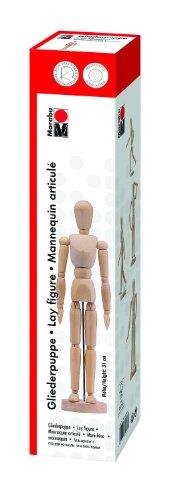 Marabu 1627000000001 - Gliederpuppe, beliebig verstellbare Modellpuppe aus Holz, zur originalgetreuen Darstellung menschlicher Proportionen, stabile Grundplatte, leicht verstellbar, Höhe ca. 31 cm