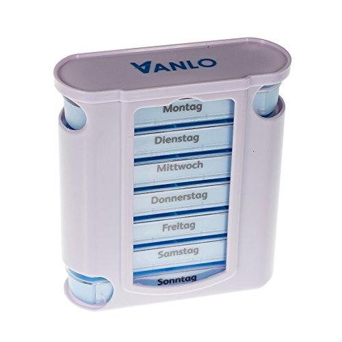 """VANLO Pillendose\""""Tower\"""" 7 Tage mit 4 Fächern pro Tag, Pillenbox,Tablettendose, Wochendosierer, Medikamentenbox in deutsch"""