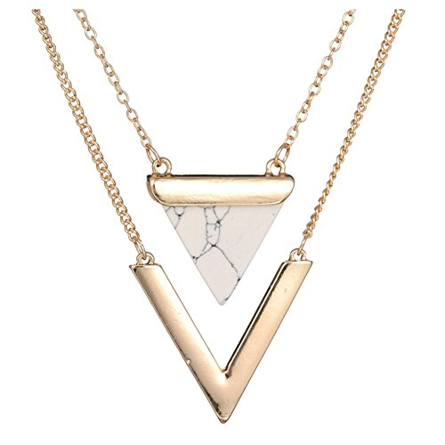 SODIAL(R) Women Punk Necklaces from India Geometric Triangle Faux Marble Stone Pendant Necklace Vintage Jewelry White