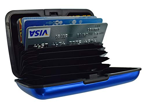 UTRAX 12 Slots Metal Cards Wallet Multi Pockets Aluminum Purse Credit Card Organizing Hard Case Holder for RFID Scan Protection (BLUE)
