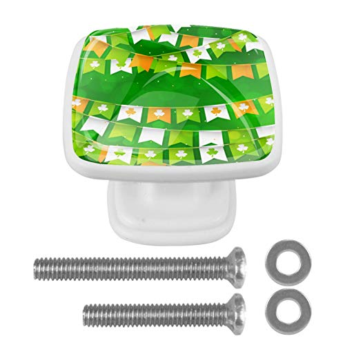 4 Pack with Screws Knobs for Kitchen Cabinets Crystal Glass Drawer Pulls and Knobs Cupboard Handles for Dressers Wardrobes Bedside Table Nightstand Bookcase,Green Festive-Garlands