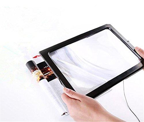 Lupa tamaño A4 con luz LED, manos libres y soporte plegable (aumento x3)