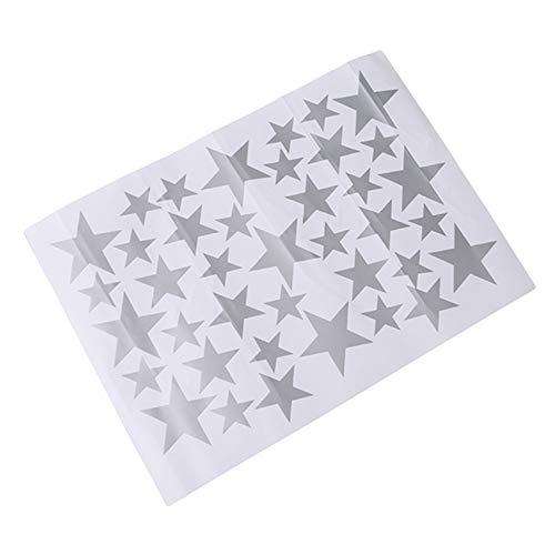 Kaned Pegatinas de estrella removibles para decoración del hogar, pegatinas para dormitorio, sala de estar, baño, color plateado