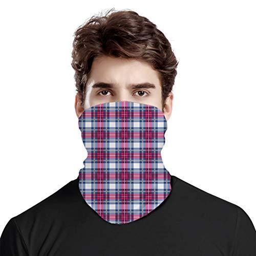 FULIYA Gran cara cubierta bufanda protección cuello, diseño clásico de tartán británico con un aspecto moderno patrón de azulejos rosa y azul, bufanda de cabeza variada unisex