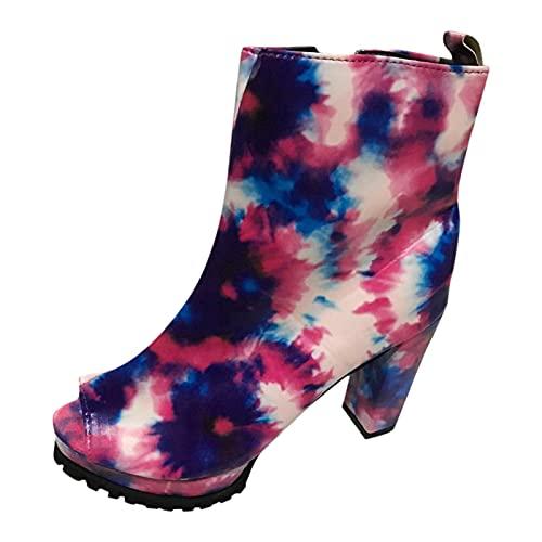 Stivali Donna Tacco alto spesso Stivali con punta aperta Stivaletti con cerniera Scarpe singole (39,rosa)