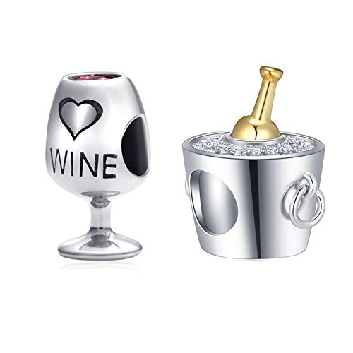 Cups Charms Set fits DIY Bracelet, Champagne Ice Bucket Charms and Wine Cup Charms Jewelry Set in 925 Sterling Silver, Best Gifts for Wedding/Anniversary/Party/Christmas