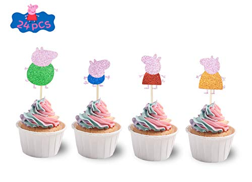 KAPOKKU Peppa Pig Family Glitter Cake Toppers Party Decorative for Kids Birthday Party Baby Shower (peppa pig CupCake Topper)
