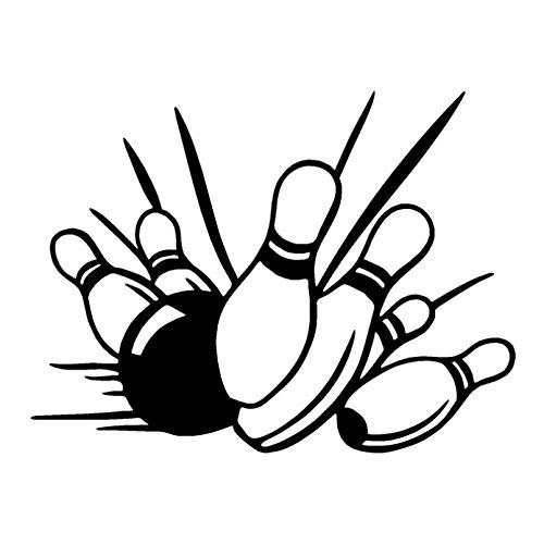 KDEQT Sticker De Carro 20,3 * 15,3 Cm Pegatina De Coche De Dibujos Animados De Bolos Calcomanías De Vinilo Divertidas Que Cubren El Cuerpo Negro/Plateado