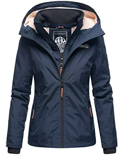 Marikoo Designer Damen Übergangs Jacke leicht gefüttert Kapuze kurz B659 [B659-Erdbeer-Navy-Gr.M]