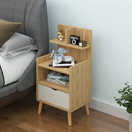 ESGT - Mesilla de noche de madera para el hogar, mesita de noche pequeña, sofá, mesa auxiliar con 2 cajones para dormitorio