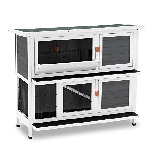 Lovupet Rabbit Hutch Cage with Pull Out Tray, 2 Story Outdoor Indoor...
