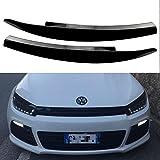 VO-Lkswagen VWシロッコGTS 2008 2009 2010-2017アクセサリーカースタイリングのための車のヘッドライトの眉毛ステッカーデコレーションフィット,Bright black