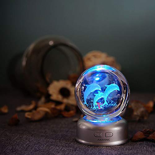 dolphins 3d crystal ball desk light