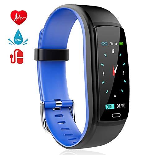 MINLUK Montre Connectée Podomètre Smartwatch Bracelet Connecté Fitness Tracker d'Activité Ecran Coloré Etanche IP67 avec Suivi de Fréquence Cardiaque, Sommeil, Calories etc. pour iPhone Android Bleu