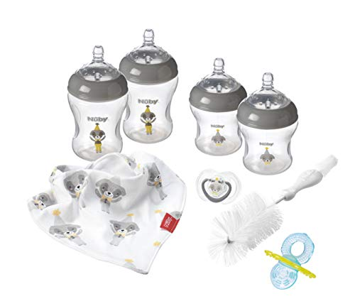 Nuby Newborn Baby Bottles Starter Set Grey