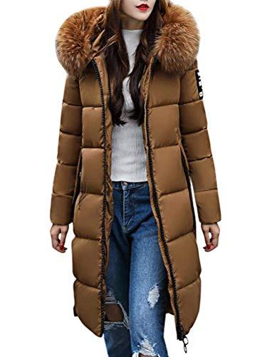Tomwell Damen Winterjacke Parka Daunenjacke Jacke Mantel Lange mit Fellkapuze Steppjacke Warm Wintermantel Outwear Kaffee DE 38