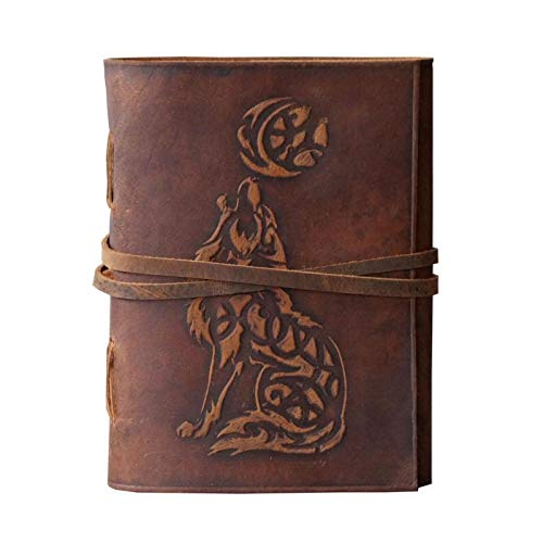 Wolf Embossed Handmade Leather Bound Journal Notebook Writing Diary Notepads for Him & Her Blank Paper 7 x 5 Inches - Best Gift for Art Sketchbook & Vintage Handbook