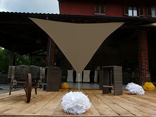 PEGANE Voile d'ombrage Triangulaire en Polyester Coloris Taupe - Dim : 500 x 500 x 500 cm