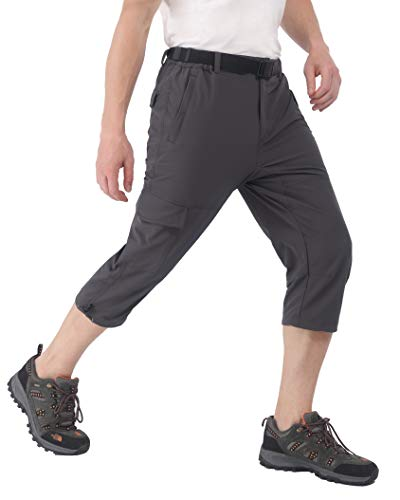 MIER Men's Quick Dry Hiking Capris Pants Lightweight Stretchy Cargo Shorts Below Knee with 5 Pockets, Water Resistant, 32, Graphite Grey