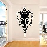AGiuoo Buda Cara Minimalista Vector Etiqueta de la Pared Etiqueta Budismo Zen Yoga Mural decoración de la habitación del hogar 57x100cm