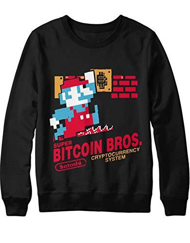 HYPSHRT Herren Sweatshirt Cryptocurrency Super Bitcoin Bros. H000028 Schwarz L