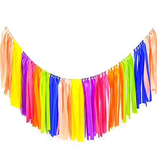 AZOWA Ribbon Tassel Garland Assembled Ribbon Color Handmade Fabric Banner Fringe Hanging Decor for Wedding Nursery Photo Props Bridal Shower Party Decorations (40 in (L) X 14 in (H), Assorted Color)
