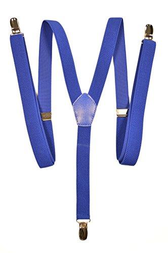 Olata Hosenträger mit 3 Clips - Modell 'Skinny' 2cm. Königsblau