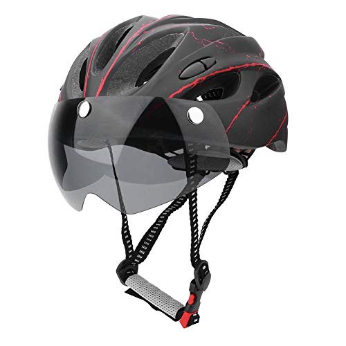 Liukouu Cycling Helmet for Man Woman, Adult Bike Helmet Mountain Bike Road Bicycle Cycling Helmet with Goggles, Black Red