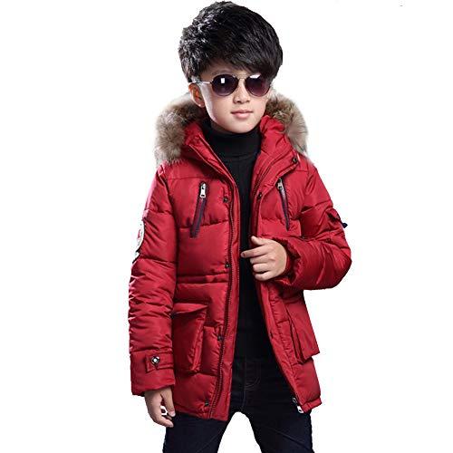 SXSHUN Niños Chaqueta de Invierno con 2 Cremalleras Abrigo Acolchado con Capucha de Pelo, Rojo, 7-8 años (Etiqueta: 130cm)