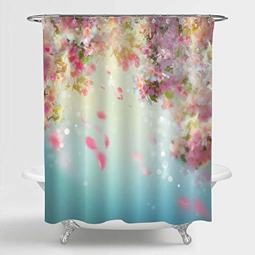 MitoVilla Cherry Blossom Duschvorhang für weibliches Badezimmer-Dekor, Frühlings-Kirschblütenblütenblätter, fliegender Regenwind auf Wind, wasserdichtes Badezimmer-Zubehör, rosa, türkis, 183 cm B x L
