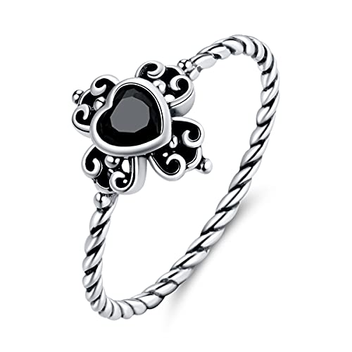GDDX, anillo de pulgar Vintage con giro de corazón negro, plata de ley 925, anillos de dedo ajustables de circonita cúbica delicada, regalos de joyería para mujeres y niñas (6)