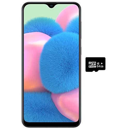 "Samsung Galaxy A30S w/On-Screen Fingerprint (64GB, 4GB) 6.4"", Triple Camera, Dual SIM GSM Unlocked A307G/DS - US + Global 4G LTE International Model (64GB + 64GB SD + Case Bundle) (Black)"