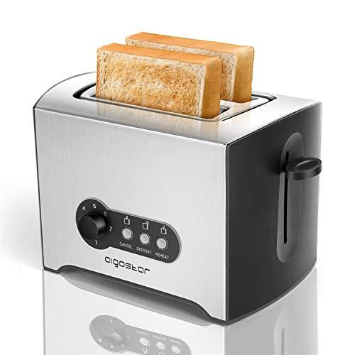 Aigostar Mini Sunshine - Tostadora 2 ranuras, 900W, 7 niveles de tostado, función descongelación y recalentamiento, bandeja recogemigas extraíble, ranura extra ancha, Acero inoxidable.