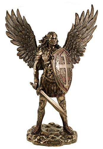 Veronese 708-7273 Erzengel Michael in Rüstung mit Schwert und Schild 36 cm bronziert Figur Skulptur