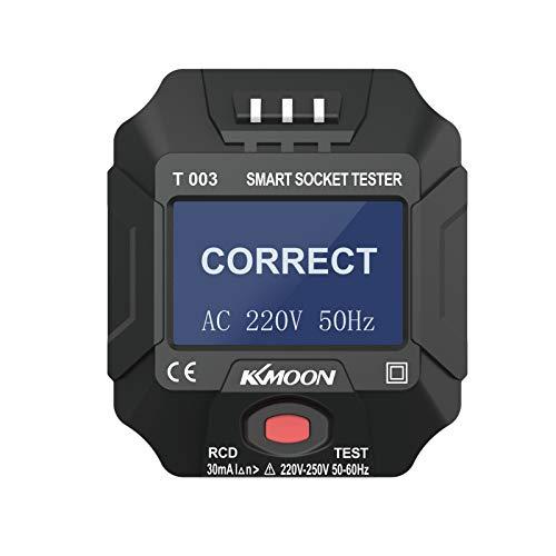 Steckdosetester KKmoon 220~250V Digitalanzeige LCD Smart Socket Tester Schaltkreis Polaritätsdetektor Wandsteckerbrecher Finder Dichtheitsprüfung für Haushaltsgerätetests -Schwarz