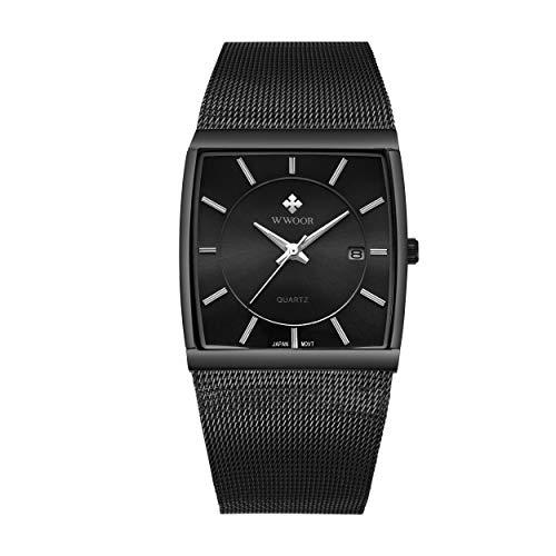 LRANCS Heren automatisch horloge met datum, vierkant horloge waterdicht, business fashion top merk jurk horloge mesh riem